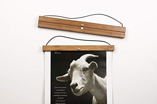 Tendō Natural Bamboo 2021 Wall Calendar Display Hanger Frame | No More Curled Up Pages | Darker Bamboo Finish | Medium