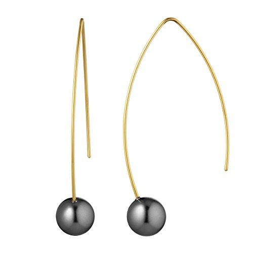 Heideman Ohrringe Damen Auris aus Edelstahl gold farbend matt Ohrstecker hängend für Frauen Swarovski Perle grau rund 10mm