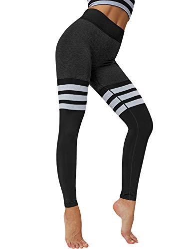 YNALIY Jogginghose Damen Gestreifte Patchwork Yoga Leggings Fitness Laufhose Hohe Taille Bauchkontrolle Gym Tights Sporthose