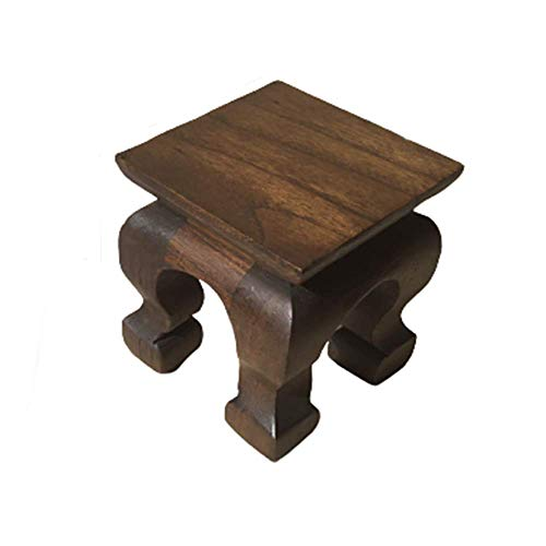 CoziNest Mini Table Buddha Statue Stand Worship Pedestal Furniture Display Stand Wooden Square Shape Solid Thai Teak Wood Base Holder for Small Little Things Statues Items (W3 x D3 x H3.5)
