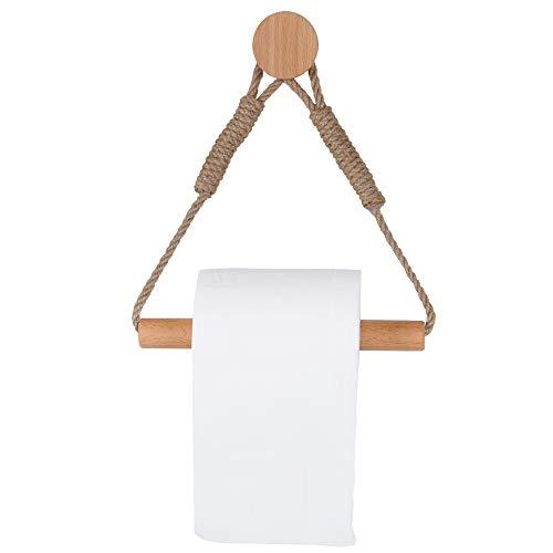 Portarrollos de papel higiénico vintage de cuerda de cáñamo de madera para baño (estilo b)