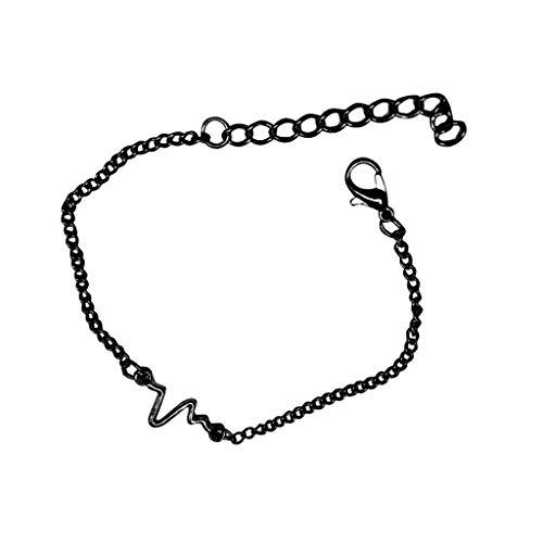 Heartbeat Bracelet, Heartbeat Love Cardiogram Adjustable Bracelet Jewelry for Women Girls, Lifeline Pulse Valentine's Gift (Black)