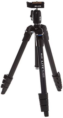 SLIK Lite AL-420S Tripod with LED Center Column Flashlight, for Mirrorless/DSLR Sony Nikon Canon Fuji Cameras and More - Black (611-592)