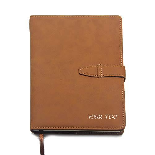 EDSG Personalisierbares Notizbuch aus PU-Leder im A5-Format, Tagebuch mit Lederbindung, Tagebuch für Geschäftsleute, Geschenk für Schulabschluss, Lehrer, handgefertigt in Großbritannien braun