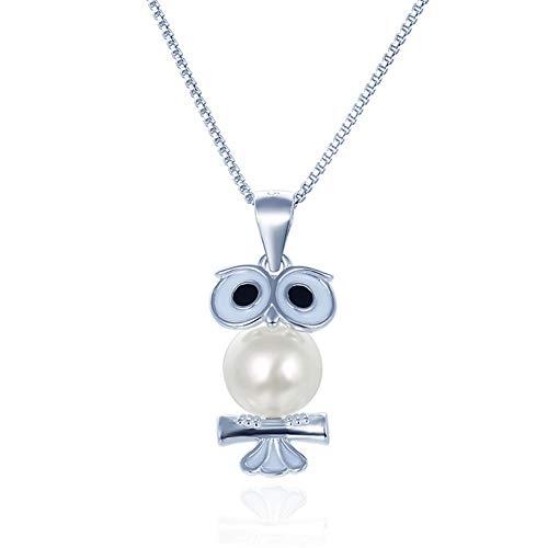 Ategazza Collar de plata 925 con colgante de búho para mujer con perla GC03A
