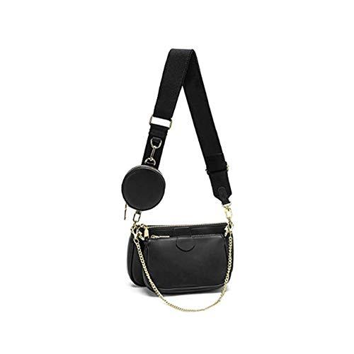 SUVIA Mehrzweck Umhängetasche Damen Crossbody-Taschen Multi-Tasche 3-Teilig Geldbörse Reißverschluss Mode Handtaschen mit Münzbeutel (Schwarz)