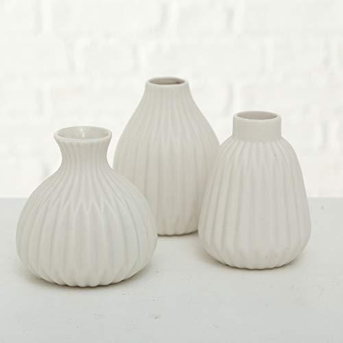 mucplants 3er Set Vasen 12cm Moderne Dekovasen Blumenvasen Tischvasen für Trockenblumen aus Porzellan/Aluminium (Weiß)