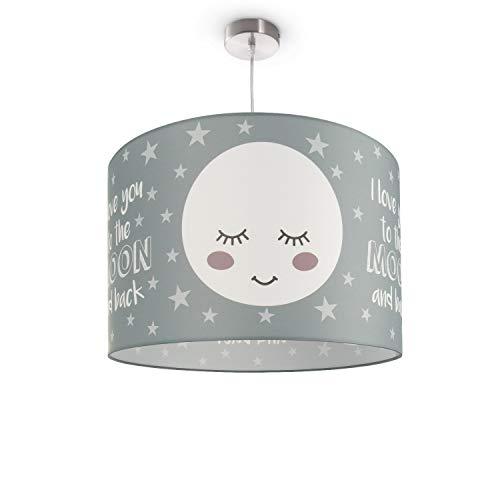 Kinderlampe Deckenlampe LED Pendelleuchte Kinderzimmer Lampe Mond-Motiv, E27, Lampenschirm:Grau (Ø45.5 cm), Lampentyp:Pendelleuchte Silber