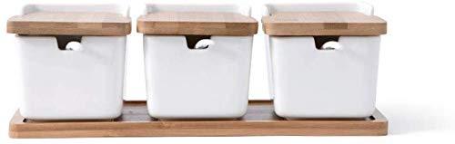 LNDDP Set di 3 Ciotole per spezie con Scatola in Porcellana e Cucchiaio e Coperchio in bambù - Contenitori per condimenti Contenitori per condimenti in Ceramica