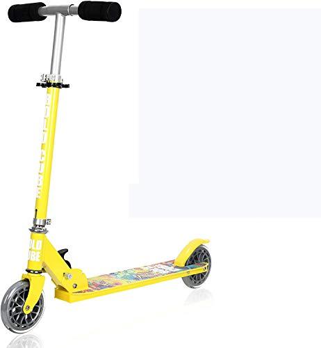 Oppikle Scooter Kinder Roller Tretroller Cityroller Kick Scooter Klappbar Mit Led Big Wheel Kugellager ABEC 7 für Mädchen Kinder ab 3 Jahre (Gelb)
