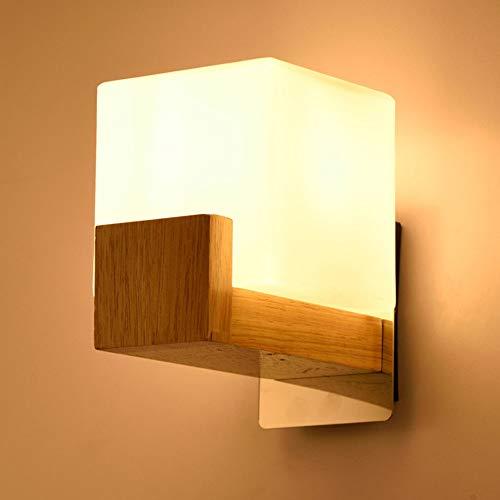 Quskto wandlamp, Nordic Europese minimalistische eikenhouten wandlamp slaapkamer nachtkastje LED E27 wandlamp voor woonkamer compact en praktisch
