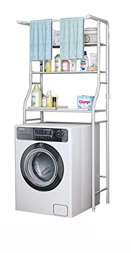 Vetrineinrete® Scaffale sopra lavatrice da bagno salvaspazio 3 mensole ripiani asta asciugamani in metallo organizer mobile bianco