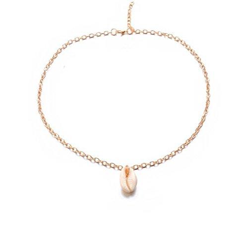 Femmes Bijoux, YanHoo® Femmes Mode Cowrie Plage Collier Naturel Shell et Chaîne de Bois Chaînes Anklets Pieds Nus Bijoux Cadeau Filles Dames Perles Bohème Cheville Bracelet (Or gold)