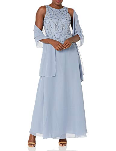 J Kara Women's Sleeveless Beaded Pop Over Long Dress with Scarf, Dusty Blue/Blue/Silver, 14 (Apparel)
