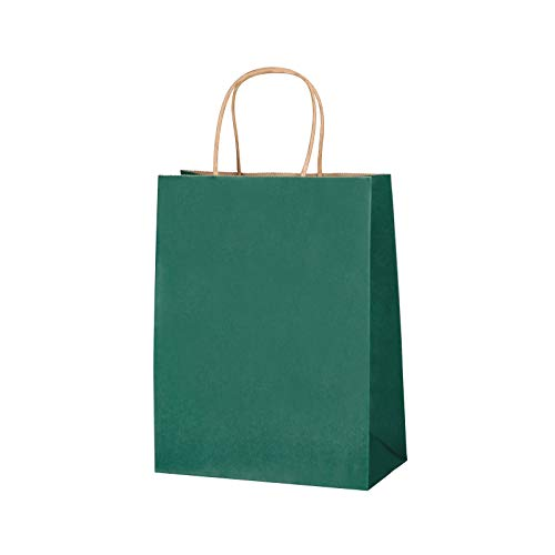 """Green Kraft Paper Gift Bags with Handle: 24 Pack L-8""""xT-10.5""""xW-4.25"""". Great bags for Gifts, Shopping, Party Favors, Treats, Goodies, Business Tchotchkes, Retail, Bakery and More"""