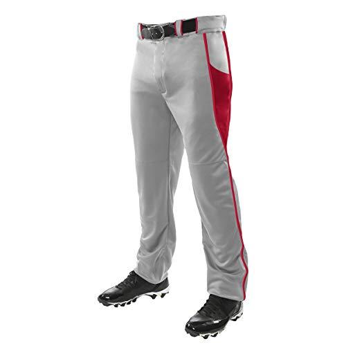 Champro Herren Baseballhose Triple Crown, Unisex-Erwachsene, BP92UAGRSCM, Grau, Scarlet, Medium