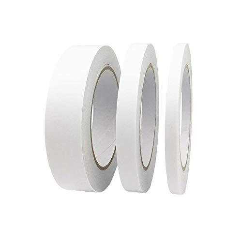 WeFine 3 rollos de cinta adhesiva de doble cara para regalos, fotos, documentos, papel pintado, manualidades, cinta, tarjetas y cajas, 92 pies de largo, 0,6 cm de ancho, 1,3 cm de ancho
