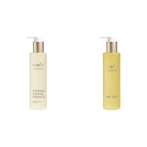 BABOR CLEANSING Thermal Toning Essence, Gesichtswasser für empfindliche Haut, 200 ml & CLEANSING HY-ÖL hydrophiles Reinigungsöl, für jeden Hauttyp, 200 ml