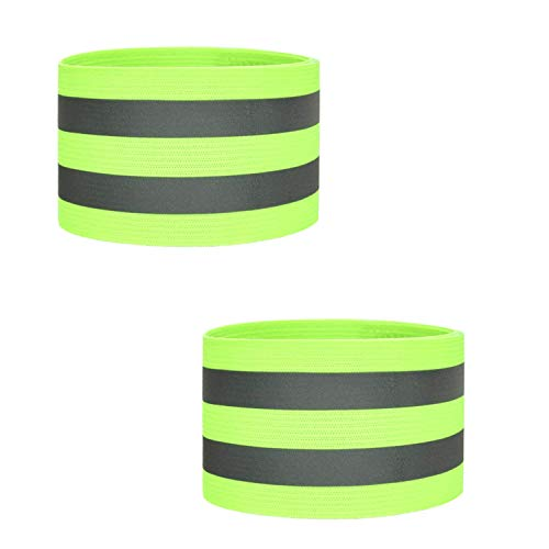 HOGAR AMO Bandas Reflectantes Elásticas 35x5cm Reflectante Alta Visibilidad Correr y Aire Libre Ciclismo Cinturón de Seguridad Reflectante para Adultos y Niños (2 Armbands, Green)