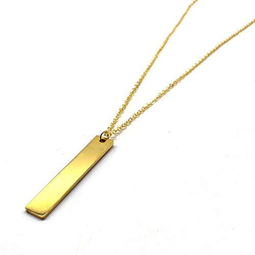 Collar con colgante largo de moda para hombre, collar de cadena de acero inoxidable Simple rectangular negro para hombre, regalo de joyería