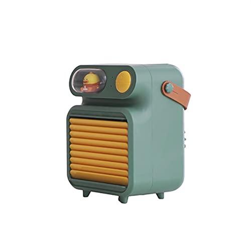 LRJBFC Mini refrigerador de Aire USB Recargable Ventilador eléctrico Humidificador AC Portátil Purificador de Aire Aire Acondicionador de Aire Personal Cooler (Color : Green)