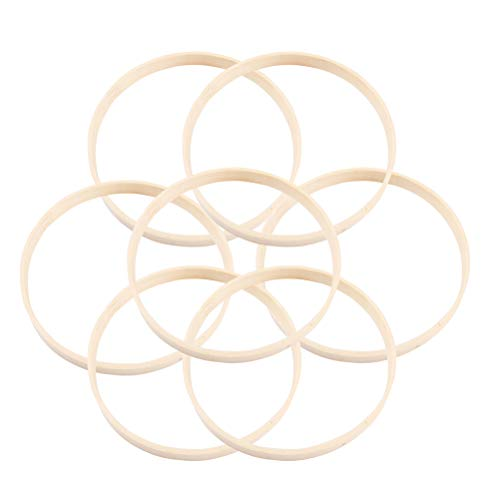 VOSAREA Traumfänger Ringe Bambus 20cm Traumfänger Holzring Runder Traumfänger Ringe Diamant für DIY Machen Dekoration Zubehör, 10St