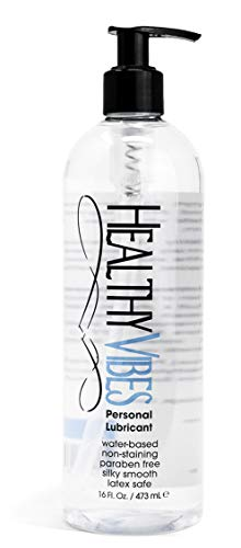 Water Based Sex Lube 16 oz by Healthy Vibes Intimate Personal Lubricant Stain Free & Condom Safe Adult lube for men, women, and couples