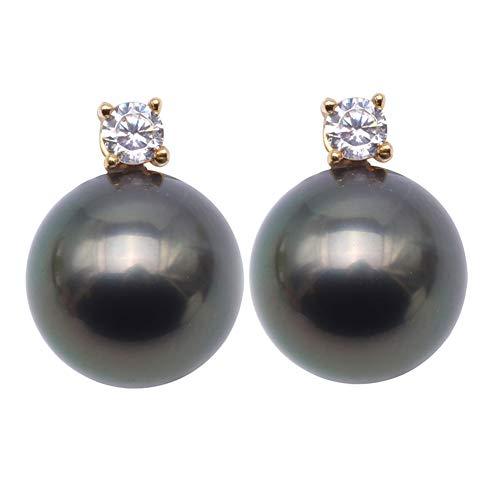JYX Charming - Orecchini in oro 18 carati con perle di Tahiti neri da 10 mm e diamanti