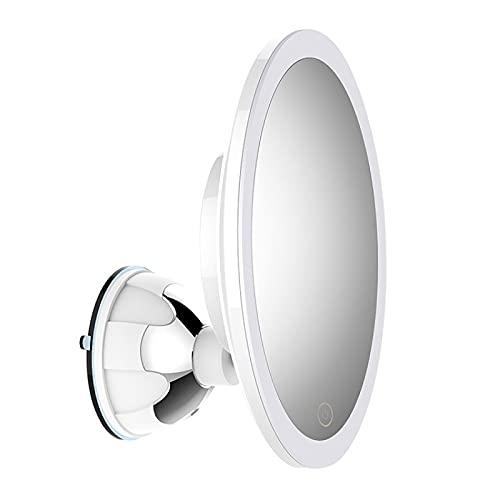 QAZW Espejo de Maquillaje con Luz LED Natural Magnífico Espejo Cosmético con Ventosa de Aumento de 5 Veces con Brazo Ajustable Portátil de Rotación de 360 Grados,White-5X