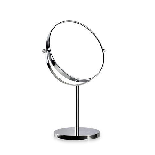 BYCDD Miroir de Table, Rotation Double Face pour grossir 3 Fois la Salle de Bain Makeup Mirror Amovible Miroir de beauté,Silver_8 inch