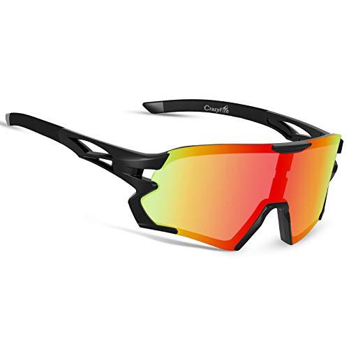 CrazyFire Radbrille Polarisierte Sportbrille Fahrradbrille Großer Bildschirm Sonnenbrille mit Verstellbarer Nasenrücken für Radfahren Laufen Klettern Autofahren Angeln Golf