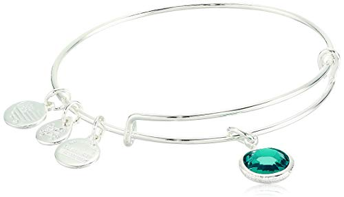 Alex and Ani Birthstones Expandable Bangle for Women, Blue Zircon Crystal Charm for December, Shiny Silver Finish, 2 to 3.5 in