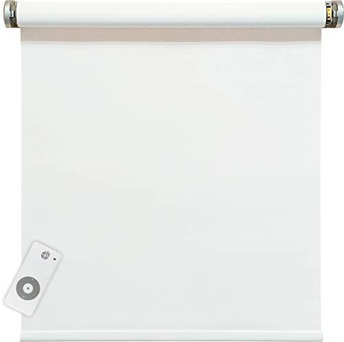 Elektrisches Verdunklungsrollo, weiß, 100{72f3abdef2c710ad465121a180c4ebc154e621214ca4ddad293c840bbbf76f41} Blickdicht, inkl. 230 V Motor & Sender, 100x250 cm (1 ST)