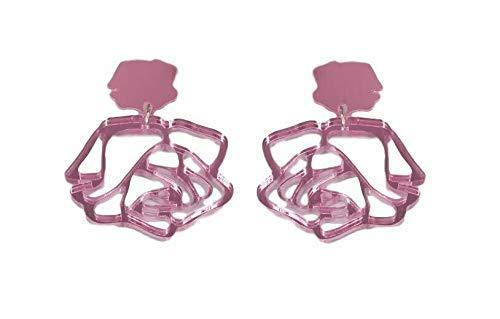 Pendientes de Mujer Rosa Engarzada Pink Regalo para Ella Pendientes Largos Plata de ley 925 Navidad Niña