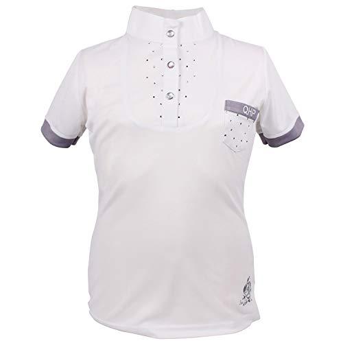 QHP - Reitsport-Turnierblusen für Mädchen in Weiß, Größe 140
