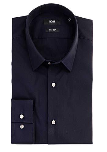 BOSS Regular Fit Hemd Eliott extra kurzer Arm geknöpft blau Größe 43