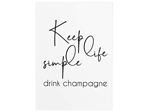 Interluxe wandbord houten bord Keep Life Simple Drink Champagne Mädels vriendin vrouw