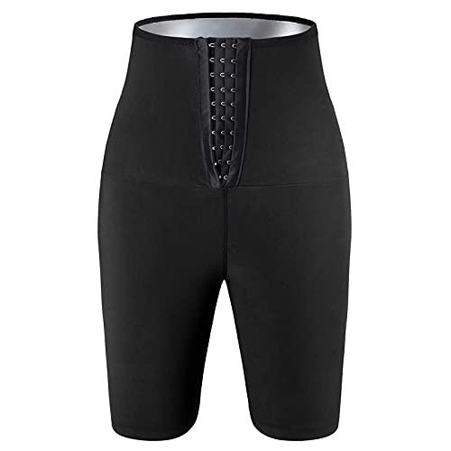 SKYWPOJU Lady Sweat Sauna Shorts Body Shaper Pantalones de pérdida de Peso Entrenamiento Adelgazante Hot Yoga Tummy Fat Burner Entrenador de Cintura Cintura Ajustable Delantero 3 Filas Ganchos