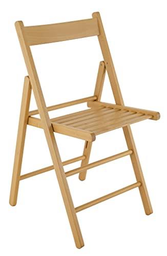 Lot de 4 chaises pliantes en bois de hêtre FSC pour cuisine, salle à manger, salle à manger, empilables
