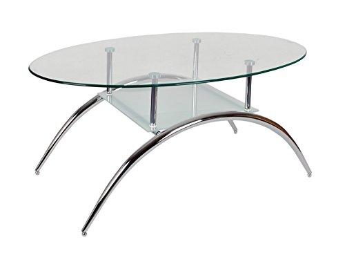 Glastisch Beistelltisch Couchtisch Oval mit Edelstahl und 8 mm ESG Sicherheitsglas