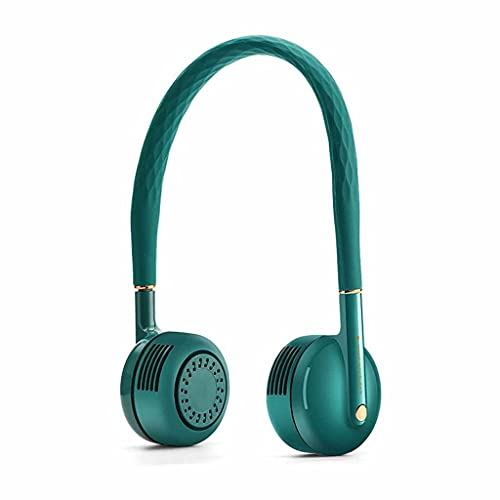 XZJJZ Portátil sin Hojas perezosas Dual Dual Cuello de refrigeración Ventilador USB Carga Deportiva al Aire Libre Flexible Banda de Aire Enfriador de Aire (Color : Green)