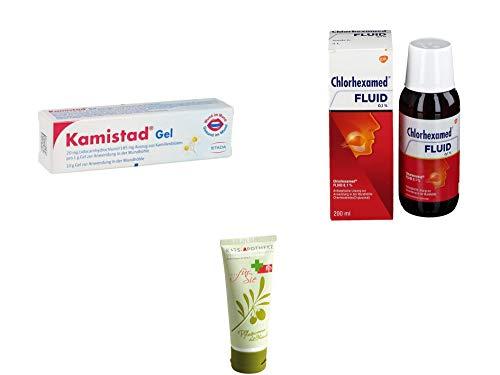 Chlorhexamed & Kamistad Sparset - Chlorhexamed Fluid 0,1% 200 ml & Kamistad Gel 10 g inkl. GRATIS Rats-Apotheke Olivenöl Pflegecreme