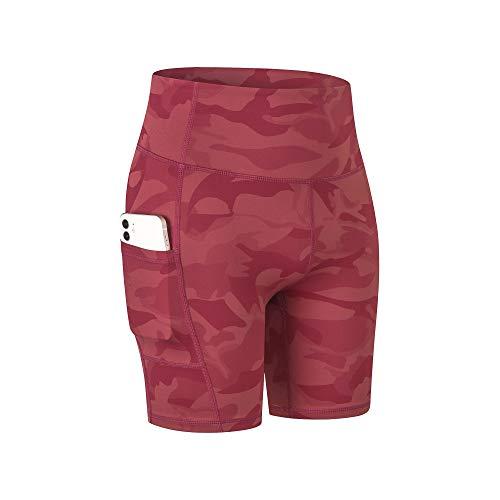 COTOP Pantalones Cortos de Yoga para Mujeres, Pantalones Cortos Deportivos de Cintura Alta de Verano con Bolsillos para Entrenamiento de Gimnasia, Fitness, Trotar, Correr, Motorista 🔥