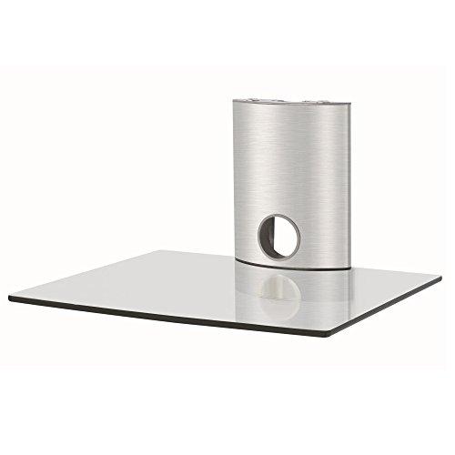 NEG Multimedia TV-Rack Suspender 501S (Silber) mit Glas-Ablage und Kabelmanagement-System