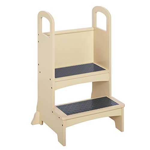 Qaba Kitchen Helper for Children Step Stool with 2 Steps, Support Handles and Non-Slip, Hardwood Stepping Stool Learning Tower for Kids and Toddlers, Footstool, Natural