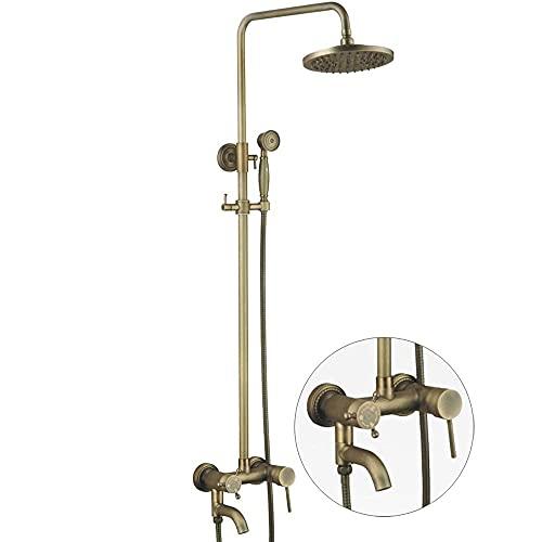 CZYNB Conjunto de grifos de Ducha, Sistema de Ducha de latón Vintage Incluye Cabezal de Ducha de Lluvia, Ducha de Mano y bañera Grifo de Chorro de bañera, Conjunto de Mezclador de Ducha de Lluvia