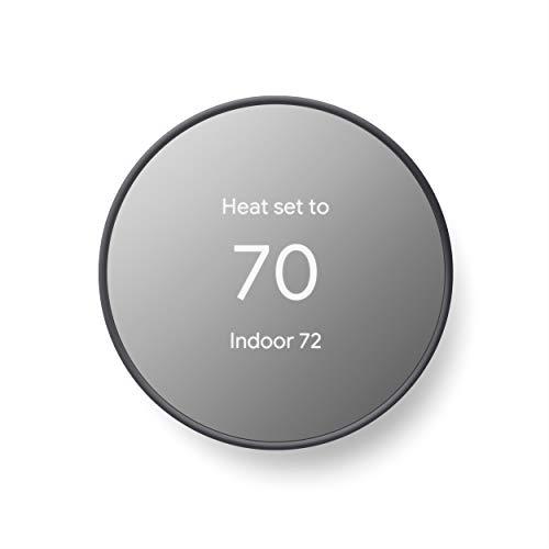 Termostato Google Nest - Termostato Intelligente per Casa - Termostato Wifi Programmabile - Carbone