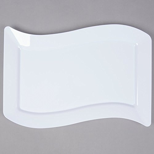 Wavettrends 10er Pack - Elegante Hartplastik Große Teller / Weiße Teller / Tabletts - 25,4 x 34,3 cm (25 x 35 cm), Weiß