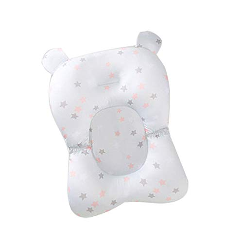 EXQUILEG Baby Badematte Neugeborene Badesitz Badekissen,Floating Soft Infant Bath Pillow Air Cushion(Gratisgeschenk: Kleine gelbe Ente) (Grau-Ohr)