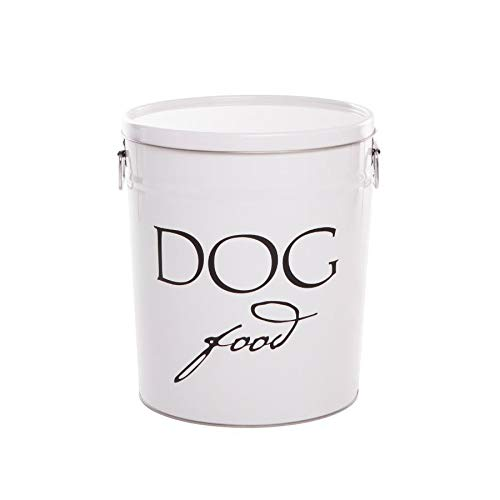 white metal dog food container